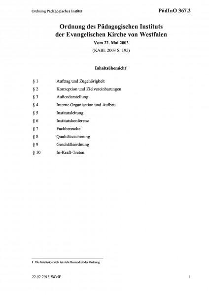 367.2 Ordnung Pädagogisches Institut