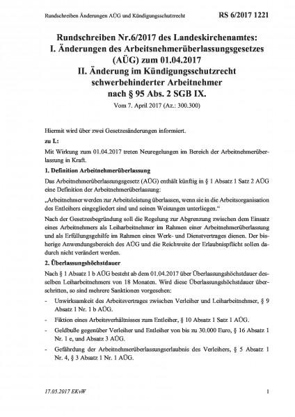 1221 Rundschreiben Änderungen AÜG und Kündigungsschutzrecht