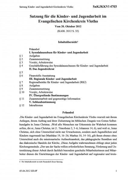 4703 Satzung Kinder- und Jugendarbeit Kirchenkreis Vlotho