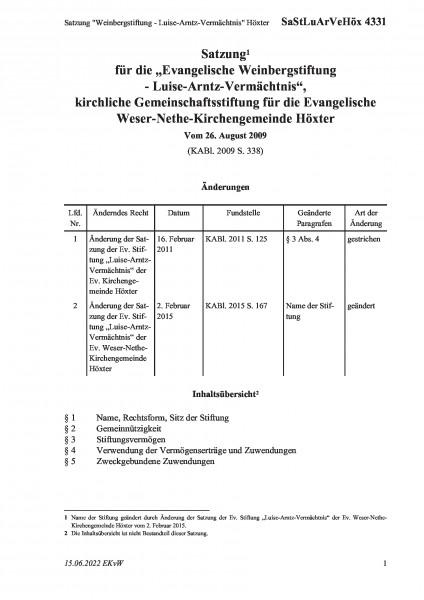 """4331 Satzung """"Weinbergstiftung - Luise-Arntz-Vermächtnis"""" Höxter"""