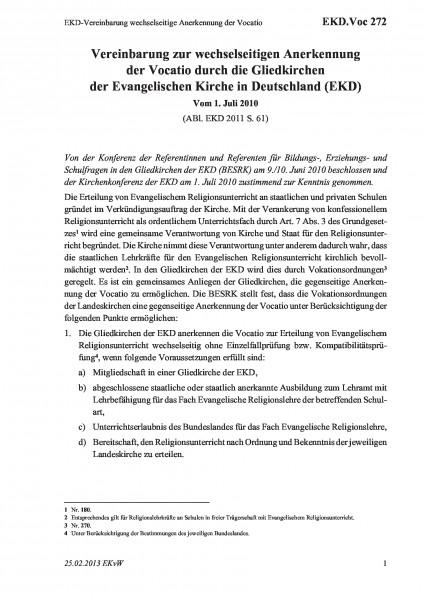 272 EKD-Vereinbarung wechselseitige Anerkennung der Vocatio