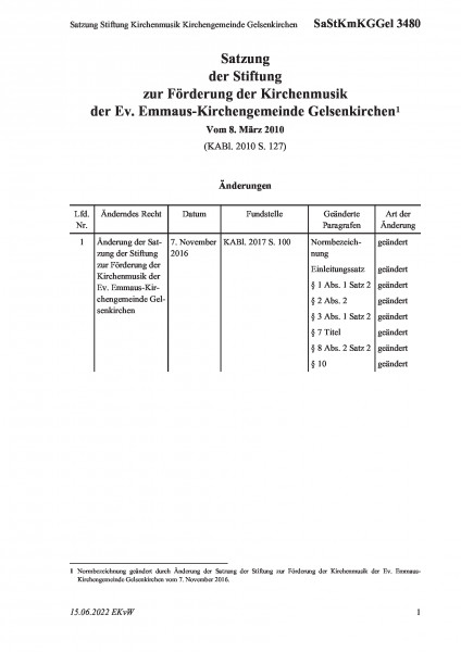 3480 Satzung Stiftung Kirchenmusik Kirchengemeinde Gelsenkirchen