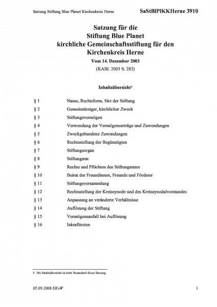 3910 Satzung Stiftung Blue Planet Kirchenkreis Herne
