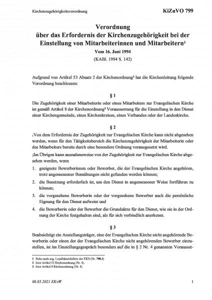 799 Kirchenzugehörigkeitsverordnung