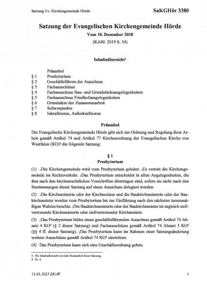 3380 Satzung Ev. Kirchengemeinde Hörde