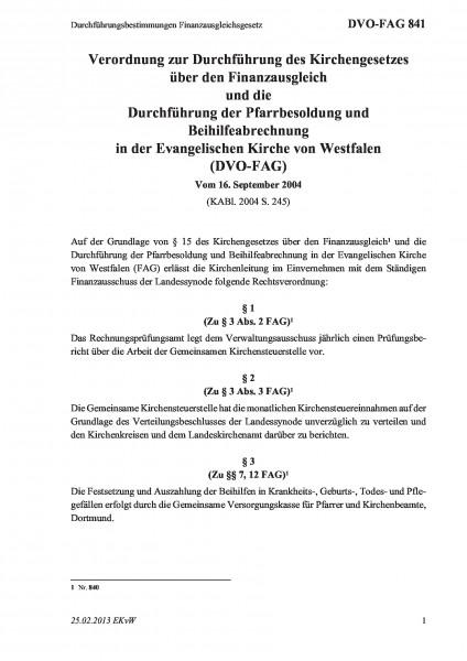 841 Durchführungsbestimmungen Finanzausgleichsgesetz