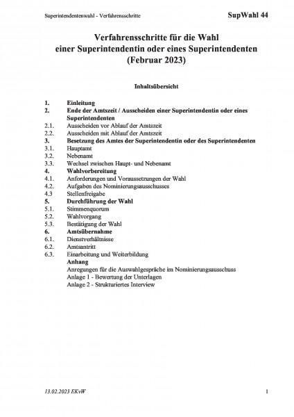 44 Superintendentenwahl - Verfahrensschritte