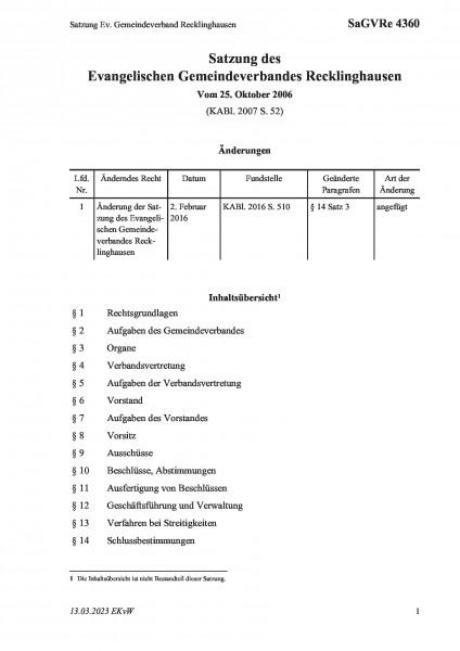 4360 Satzung Ev. Gemeindeverband Recklinghausen