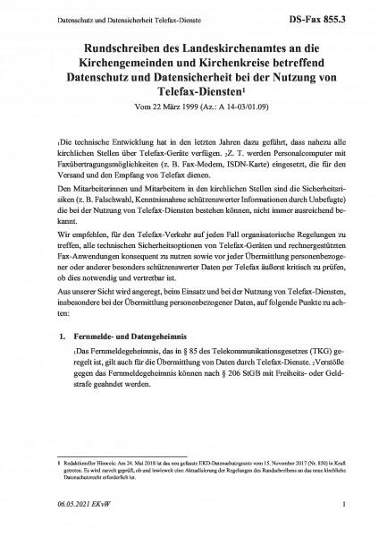 855.3 Datenschutz und Datensicherheit Telefax-Dienste