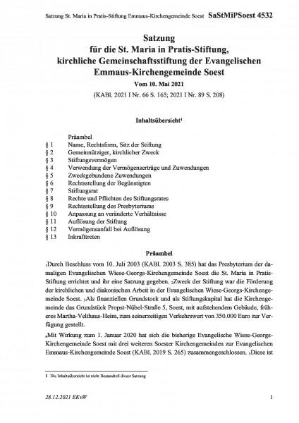 4532 Satzung St. Maria in Pratis-Stiftung Emmaus-Kirchengemeinde Soest