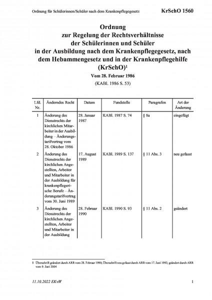 1560 Ordnung für Schülerinnen/Schüler nach dem Krankenpflegegesetz
