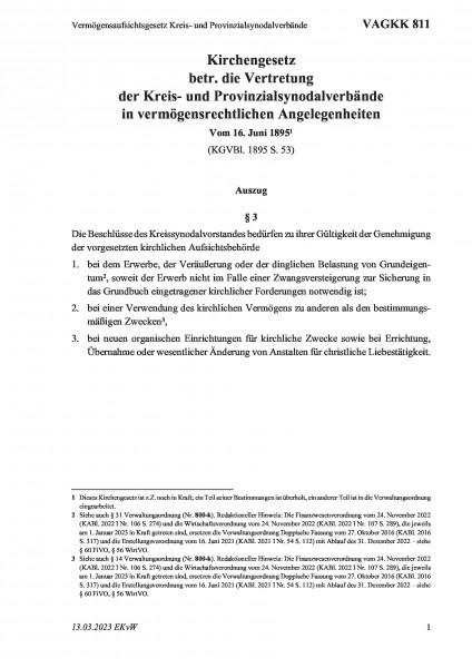 811 Vermögensaufsichtsgesetz Kreis- und Provinzialsynodalverbände