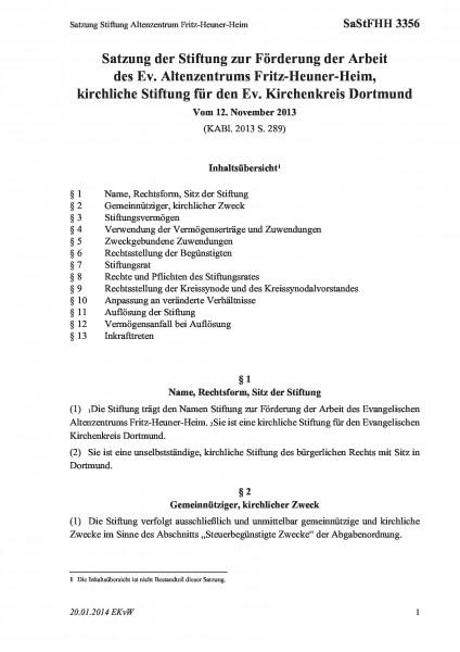 3356 Satzung Stiftung Altenzentrum Fritz-Heuner-Heim