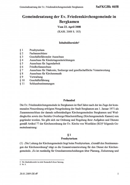 4658 Gemeindesatzung der Ev. Friedenskirchengemeinde Bergkamen