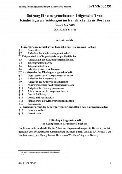 3255 Satzung Kindertageseinrichtungen Kirchenkreis Bochum