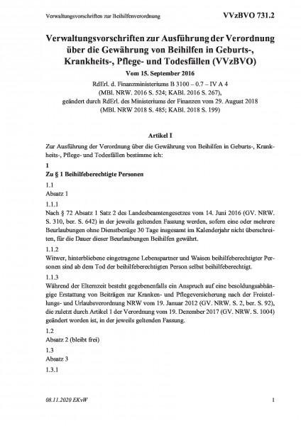 731.2 Verwaltungsvorschriften zur Beihilfenverordnung
