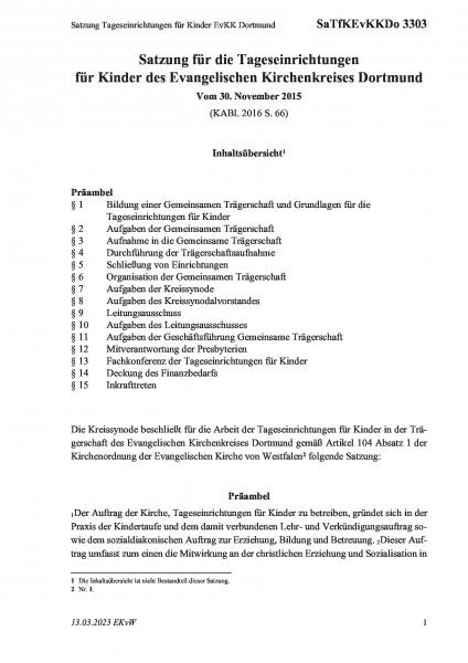 3303 Satzung Tageseinrichtungen für Kinder EvKK Dortmund
