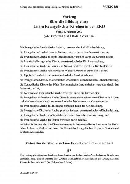 151 Vertrag über die Bildung einer Union Ev. Kirchen in der EKD
