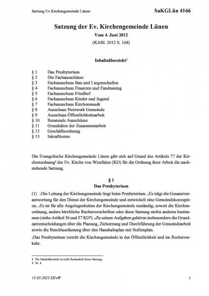 4166 Satzung Ev.Kirchengemeinde Lünen