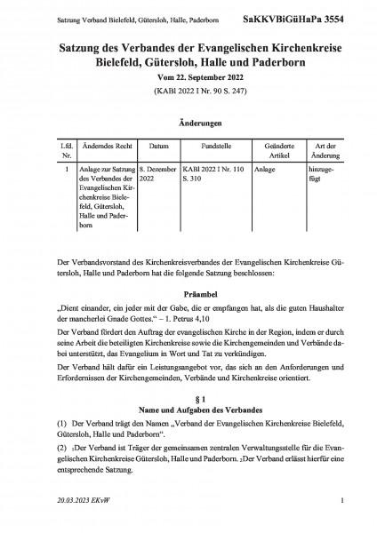 3554 Satzung Kirchenkreisverband Gütersloh, Halle und Paderborn
