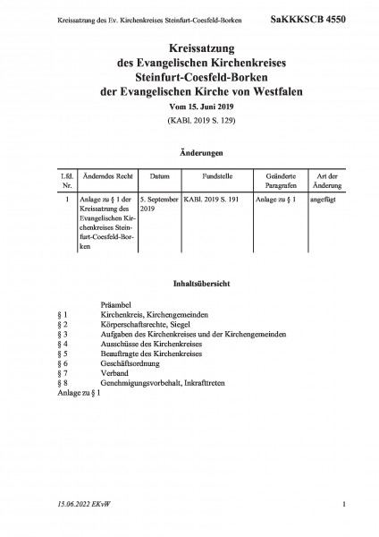 4550 Kreissatzung des Ev. Kirchenkreises Steinfurt-Coesfeld-Borken