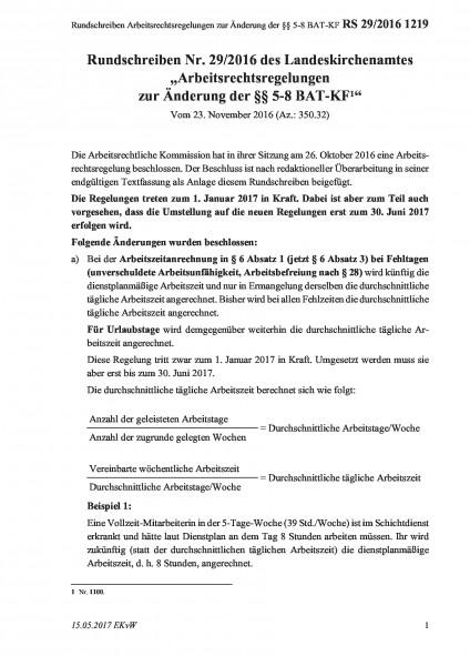 1219 Rundschreiben Arbeitsrechtsregelungen zur Änderung der §§ 5-8 BAT-KF