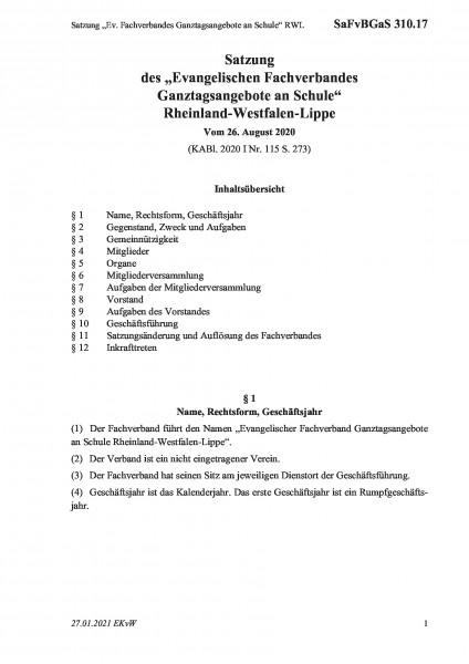 """310.17 Satzung """"Ev. Fachverbandes Ganztagsangebote an Schule"""" RWL"""