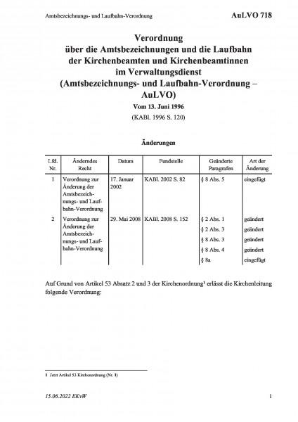 718 Amtsbezeichnungs- und Laufbahn-Verordnung