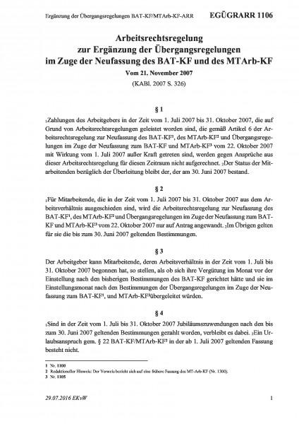 1106 Ergänzung der Übergangsregelungen BAT-KF/MTArb-KF-ARR