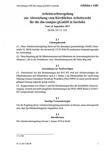1681 Abweichungs-ARR dia-campus gGmbH in Iserlohn
