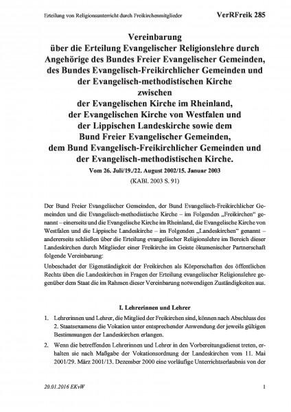 285 Erteilung von Religionsunterricht durch Freikirchenmitglieder