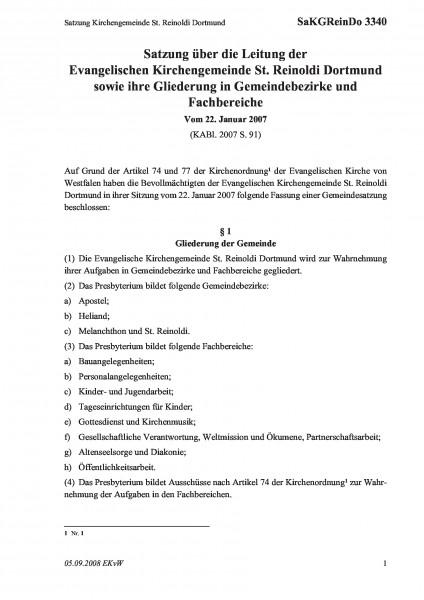 3340 Satzung Kirchengemeinde St. Reinoldi Dortmund