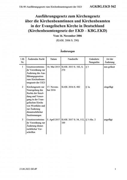 562 EKvW-Ausführungsgesetz zum Kirchenbeamtengesetz der EKD