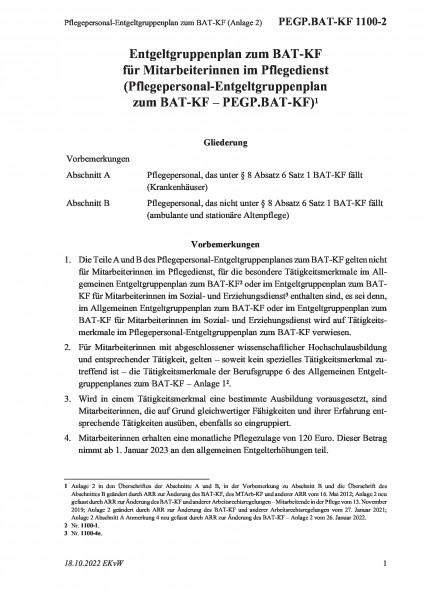 1100-2 Pflegepersonal-Entgeltgruppenplan zum BAT-KF (Anlage 2)