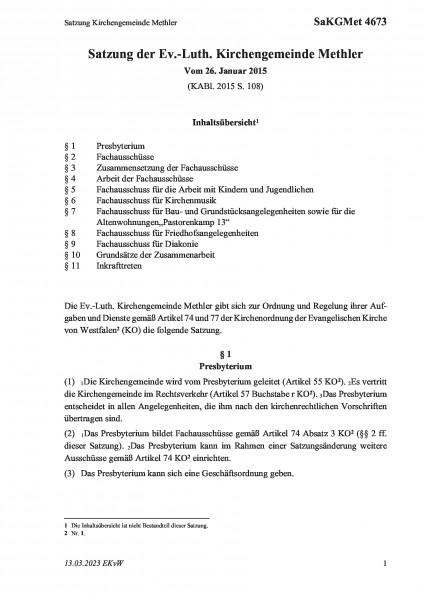 4673 Satzung Kirchengemeinde Methler