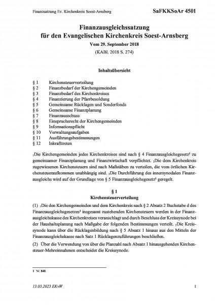 4501 Finanzsatzung Ev. Kirchenkreis Soest-Arnsberg