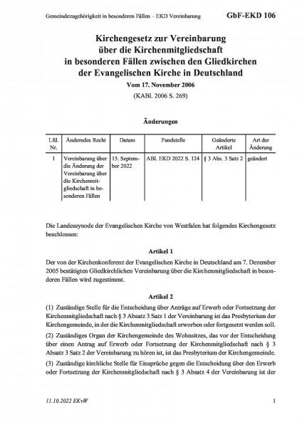 106 Gemeindezugehörigkeit in besonderen Fällen – EKD Vereinbarung