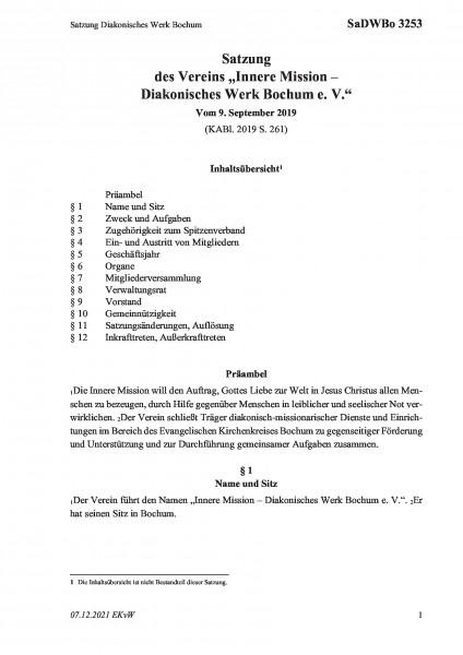 3253 Satzung Diakonisches Werk Bochum