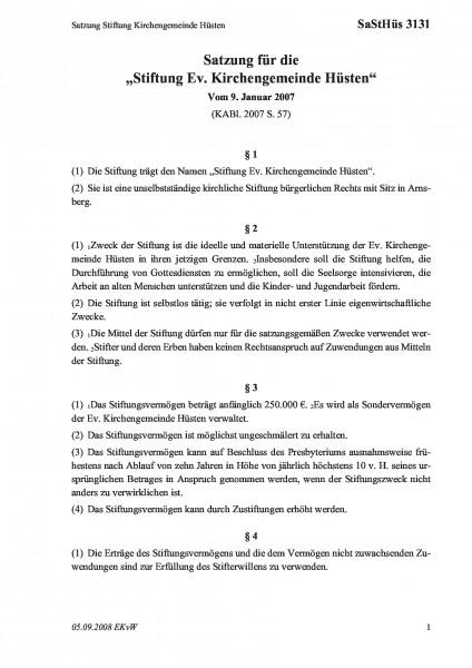 3131 Satzung Stiftung Kirchengemeinde Hüsten
