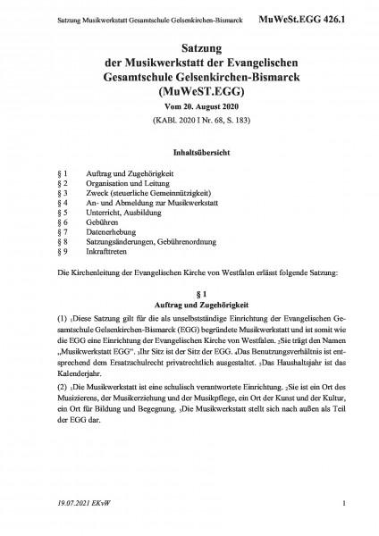 426.1 Satzung Musikwerkstatt Gesamtschule Gelsenkirchen-Bismarck