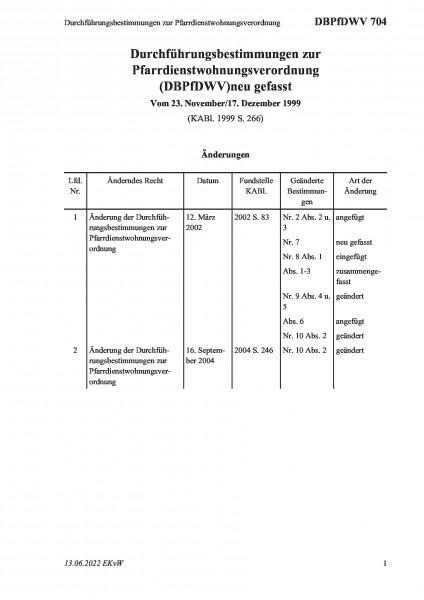704 Durchführungsbestimmungen zur Pfarrdienstwohnungsverordnung