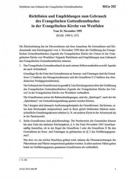 202 Richtlinien zum Gebrauch des Evangelischen Gottesdienstbuches