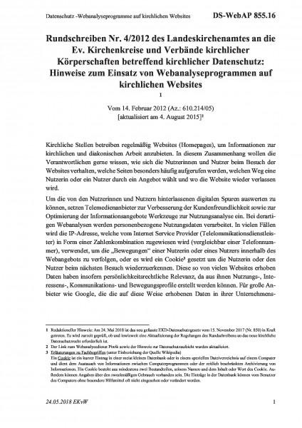 855.16 Datenschutz -Webanalyseprogramme auf kirchlichen Websites