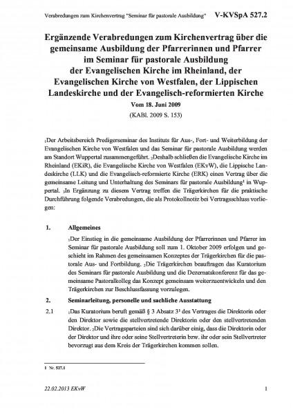 """527.2 Verabredungen zum Kirchenvertrag """"Seminar für pastorale Ausbildung"""""""