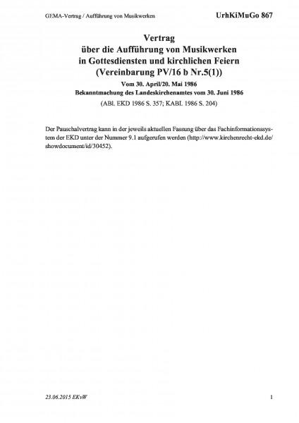 867 GEMA-Vertrag / Aufführung von Musikwerken