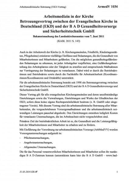 1034 Arbeitsmedizinische Betreuung (EKD-Vertrag)