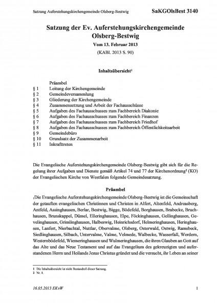 3140 Satzung Auferstehungskirchengemeinde Olsberg-Bestwig