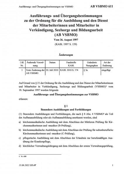 611 Ausführungs- und Übergangsbestimmungen zur VSBMO