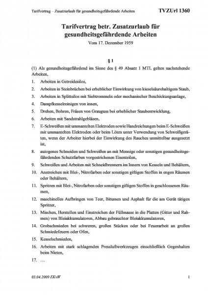 1360 Tarifvertrag – Zusatzurlaub für gesundheitsgefährdende Arbeiten