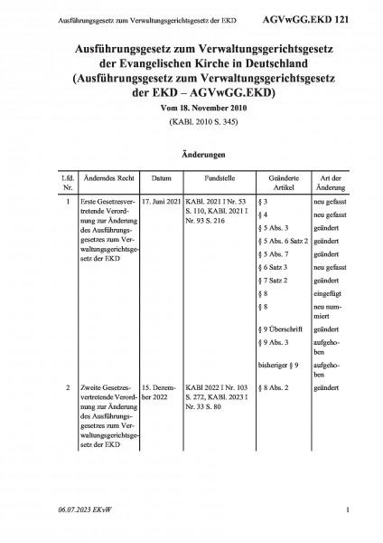 121 Ausführungsgesetz zum Verwaltungsgerichtsgesetz der EKD